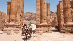 Jordan, Petra - Nabatean sandstone architecture illuminated by hot summer sun - July 2017