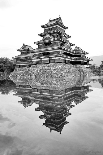 Classic view on Matsumoto Castle (松本城, Matsumoto-jō), Matsumoto City, Nagano, Japan
