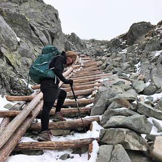Wooden ladder to the main mountain ridge of the High Tatras Polsky Hreben (2200m)