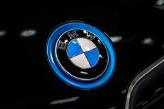 BMW company logo on a car close-up