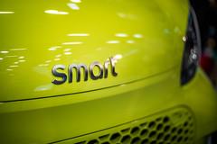 Smart company logo on a car close-up