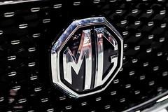 MG company logo on a car close-up