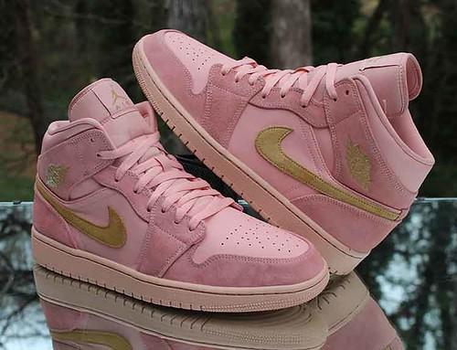 Nike Air Jordan 1 Retro Mid Men's Size 12 Coral Pink Gold 852542-600