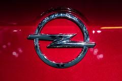 Opel company logo on a car close-up