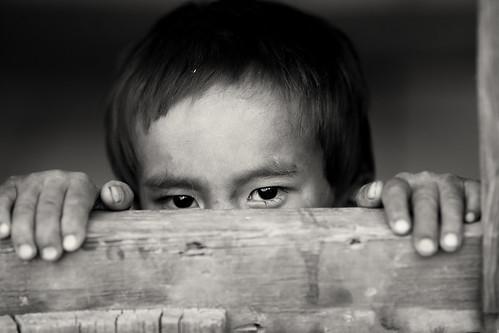 Myanmar, shy boy in Chin State