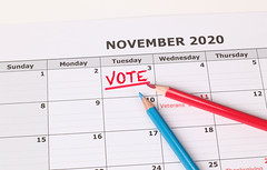 Vote reminder in calendar with red and blue pen