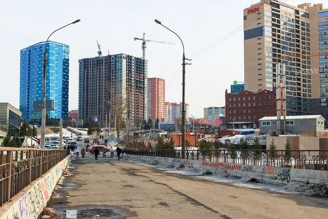 Novosibirsk city street in spring