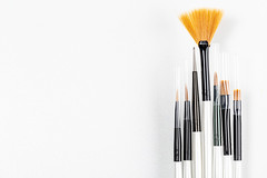 Set of a cosmetic brushes on a white background