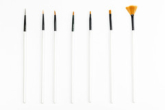 Professional makeup brush set on white background