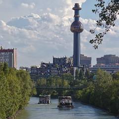 2017-07-05 AT Wien 09 Alsergrund & Wien 19 Döbling & Wien 20 Brigittenau, Donaukanal, Müllverbrennungsanlage Spittelau, Vindobona 30000106, Blue Danube 30000186