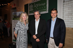 JHC President Suzanne Clary, Russell Shorto and JHC Executive Director Kevin Peraino