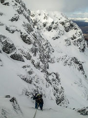 Jonno on Minus Two Gully P3 near the top (ab anchor)