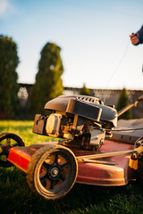 Vintage Lawn Mower Motor Engine Closeup.