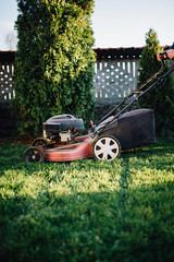 Vintage Lawn Mower Motor Engine on Grass.