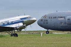 C-17A '77178' and C-53C Skytrooper 'OH-LCH'. Caen-Carpiquet, 07-6-2019