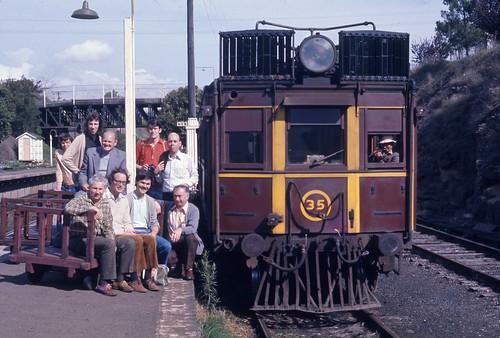 01201 (1096) 27-09-1975 Public Transport Commission of N.S.W. - CPH Rail Motor No 35 Malcolm Cluett, Greg Travers, Fred Palmer, Ian Lynas, Arthur Stathakis, Keith Brauer, Alan Travers, David Allerton, John Fawl at Picton Railway Station, N.S.W. Australia.