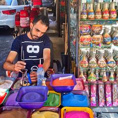 Jordan, Amman - Skilled sand bottle artist - August 2017