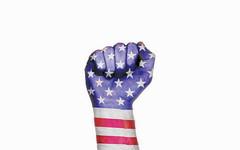 USA raised fist, protest concept