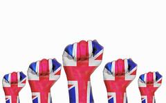 United Kingdom raised fist, protest concept