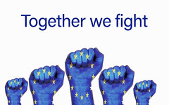 Europe raised fist with Together we fight text