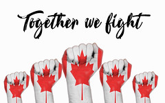 Canada raised fist with Together we fight text