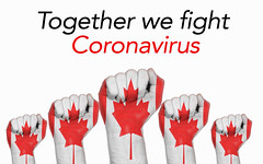 Canada raised fist with Together we fight Coronavirus text
