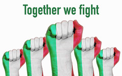 Italy raised fist with Together we fight Coronavirus text