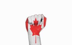 Canada raised fist, protest concept