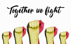 Belgium raised fist with together we fight text