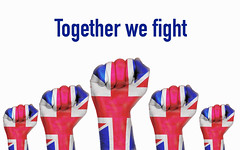 United Kingdom raised fist with Together we fight  text