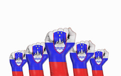 Slovenia raised fist, protest concept