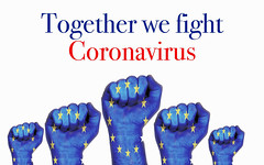 Europe raised fist with Together we fight Coronavirus text