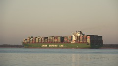 CHINA SHIPPING LINE auf der Elbe | 14. Februar 2009 | Krautsand - Niedersachsen - Deutschland