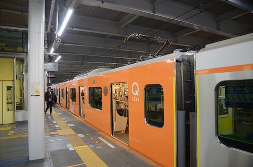 """Q SEAT"" Car of Tokyu 6020 Series Train at Nagatsuta Station"