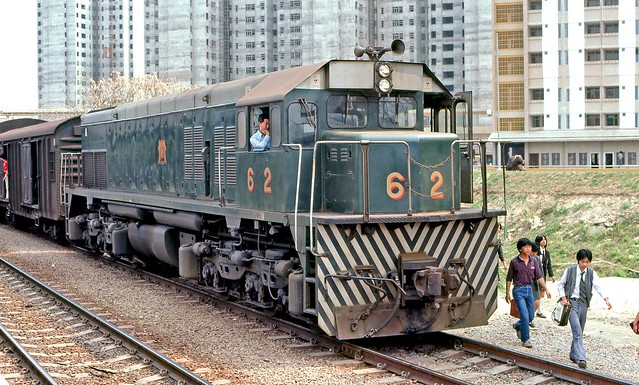 Kowloon Canton Railway: Locomotive no. 62 at Sheung Shui with a terminating train