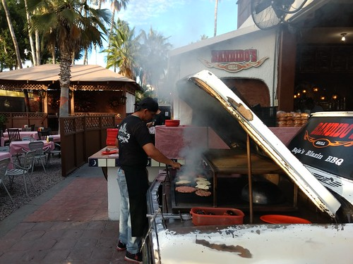 Grill in the hood of a classic car at Bandido's in La Paz