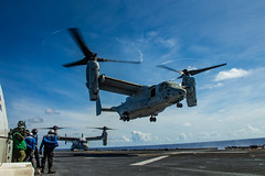 An MV-22B Osprey takes off from the flight deck of USS America (LHA 6).