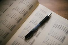 Pencil on callendar notes