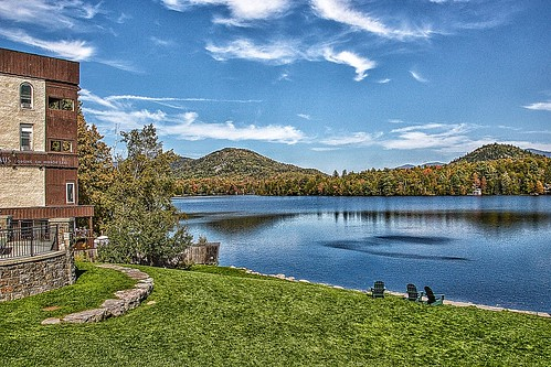 Lake Placid - New York - MIrror Lake - Autumn Scene