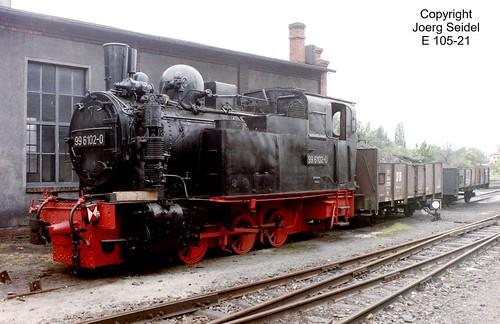 DE-06507 Gernrode (Harz) Bahnhof Deutsche Reichsbahn Selketalbahn Dampflok 99 6102 im Juli 1991