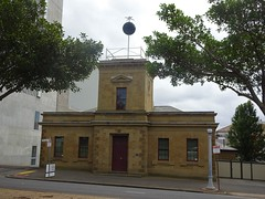 Geelong.  The timeball on top of the old Telegrpah Station. The timeball was used for ships to set correct time. The sandstone building was built in 1858 .