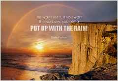 Dolly Parton The way I see it, if you want the rainbow, you gotta put up with the rain!