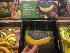 """Hand von einem Kunden, der eine einzel verkaufte Banane bei Rewe kauft. Die Kampagne läutet """"Ich bin Single und möchte auch gekauft werden"""""""