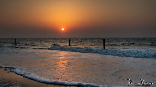 Sea fog and sunset
