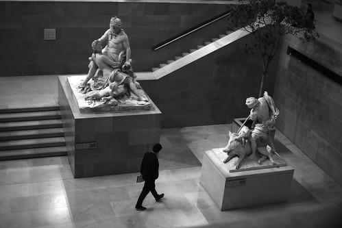 Between the sculptures