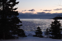 Ice floes at sunset in Bass Cove --Drummond Island, Michigan