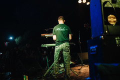 Keyboardist on a stage. Back view.
