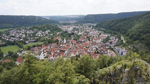 View over Blaubeuren from Hohe Fels Rock, Swabian Alb