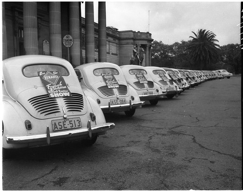 Line of Renault cars outside the Art Gallery of New South Wales, 1956, by Asher Joel