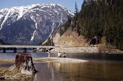 People fishing at North Cascades campground, circa 1972